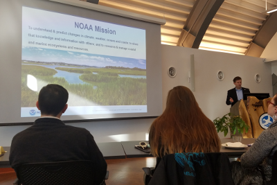 Andrew Larkin discusses NOAA mission and career opportunities at ConservationCareersSeminar Jan2017- PASE Corps image415